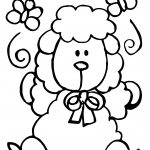 Sheep And Butterfly Draw Coloring Page