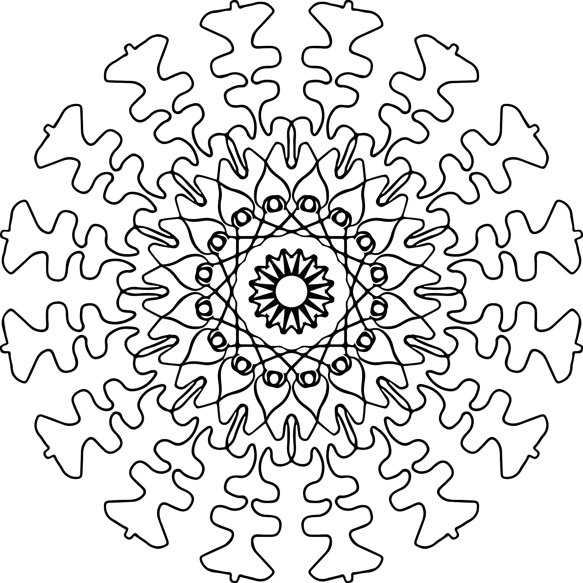 Adult Mandala Shape Orniment Style Coloring Page 40