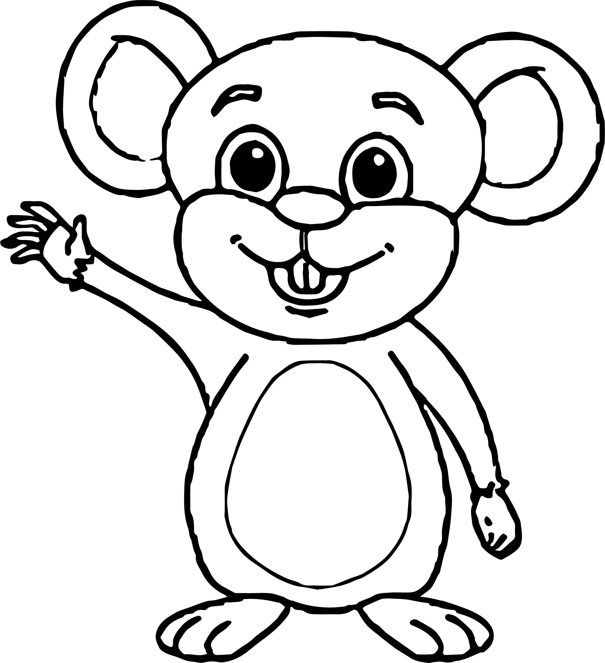 Baby Mouse Waving Cartoon Style Coloring Page