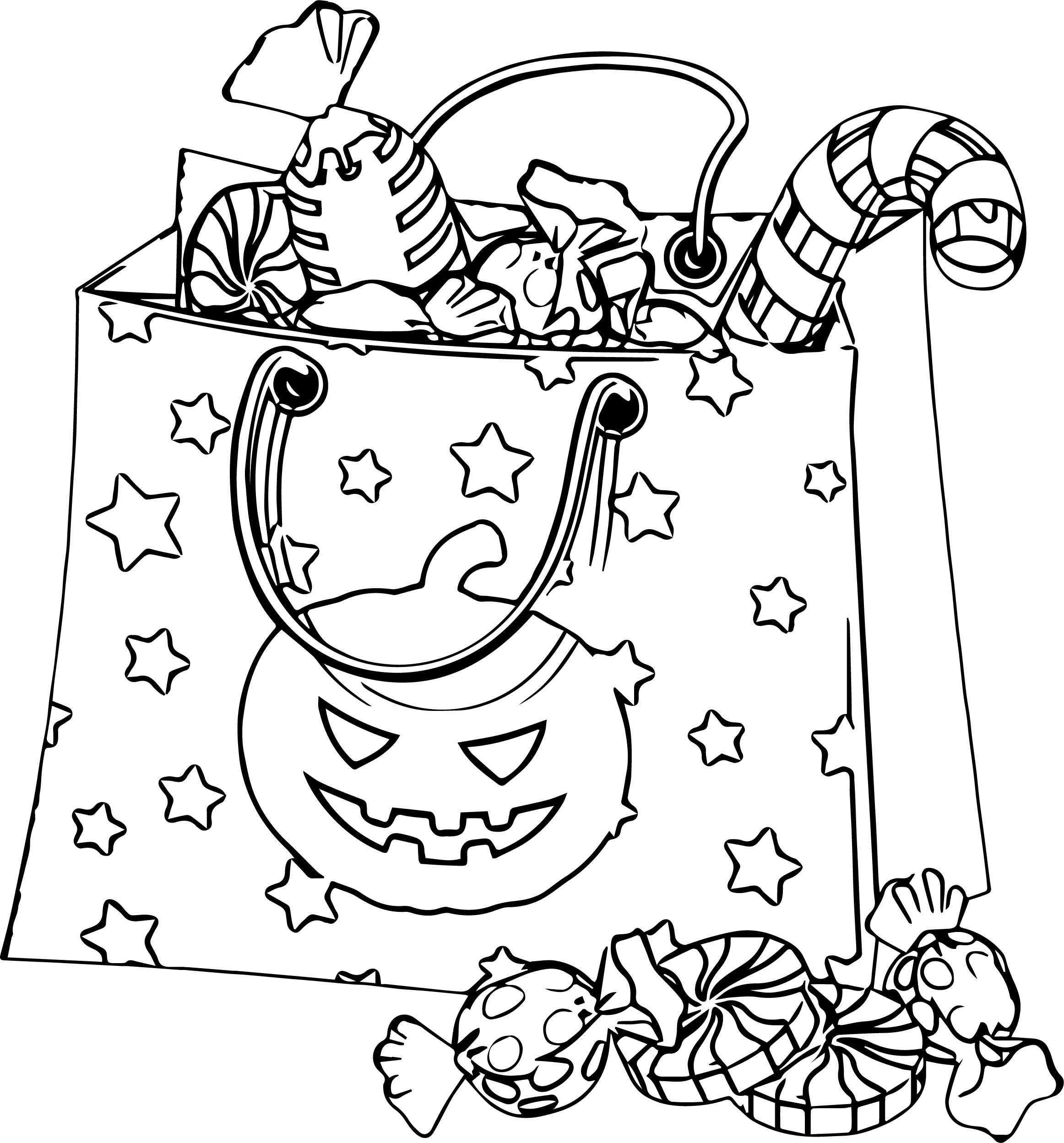 Bag Halloween Coloring Page