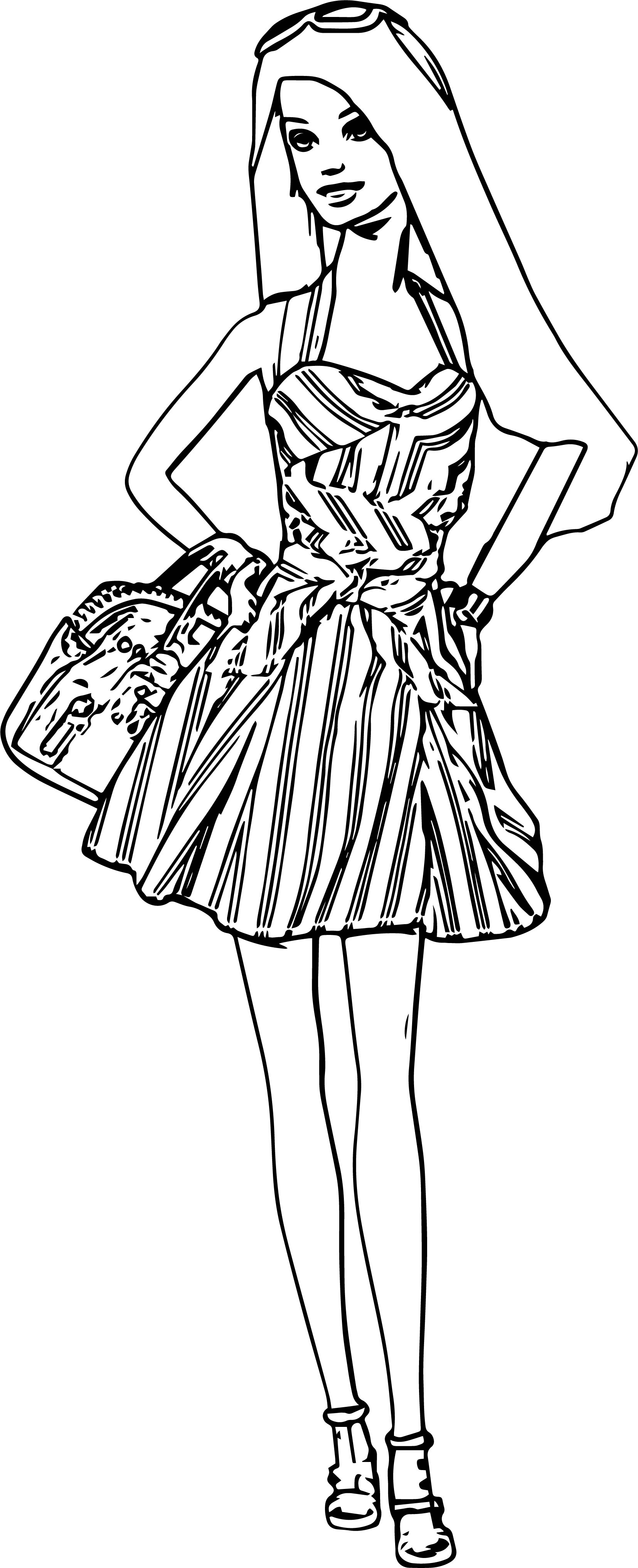 Barbie Dress Pose Time Coloring Page