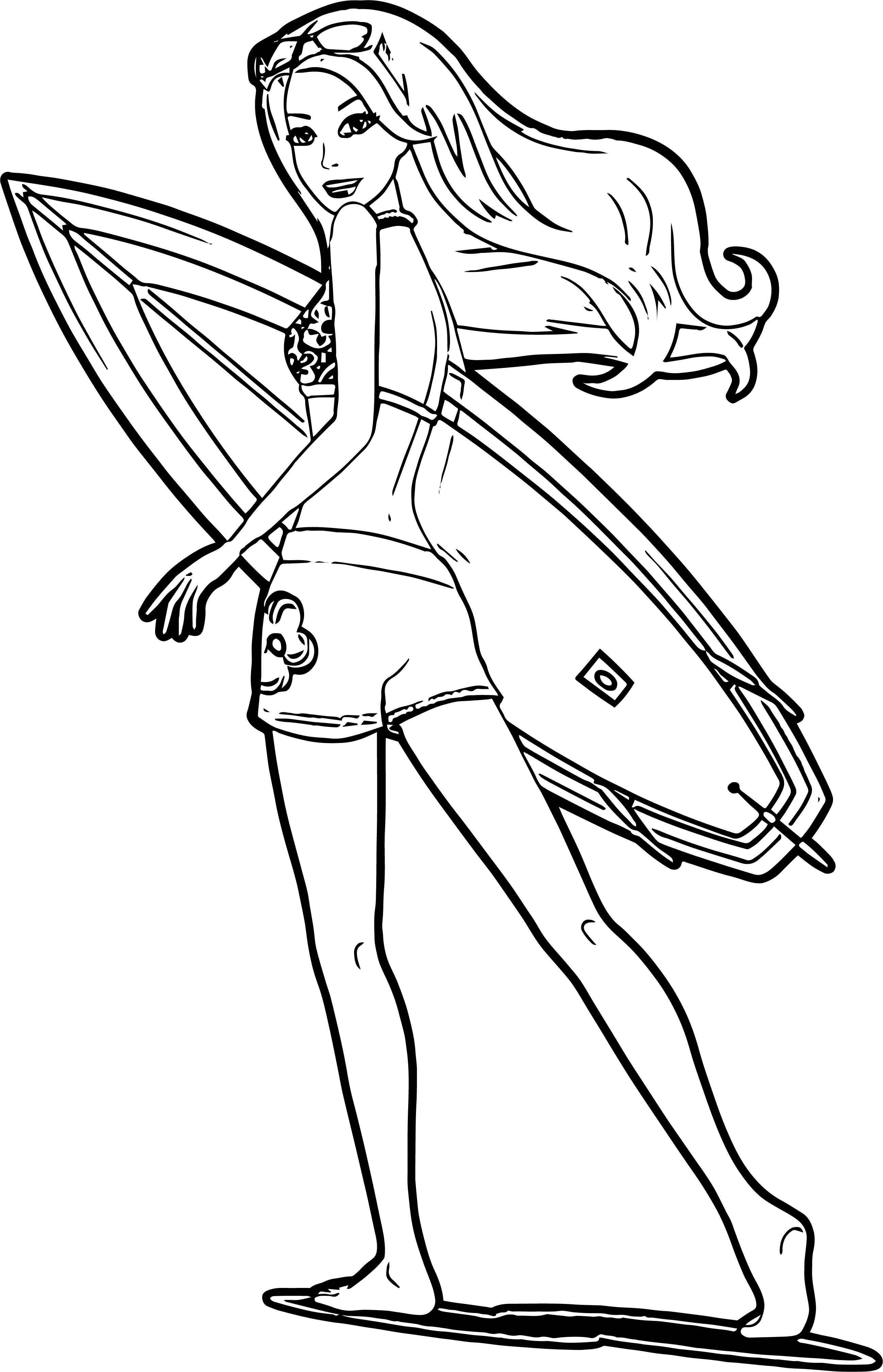 Barbie Run Surfing Coloring Page