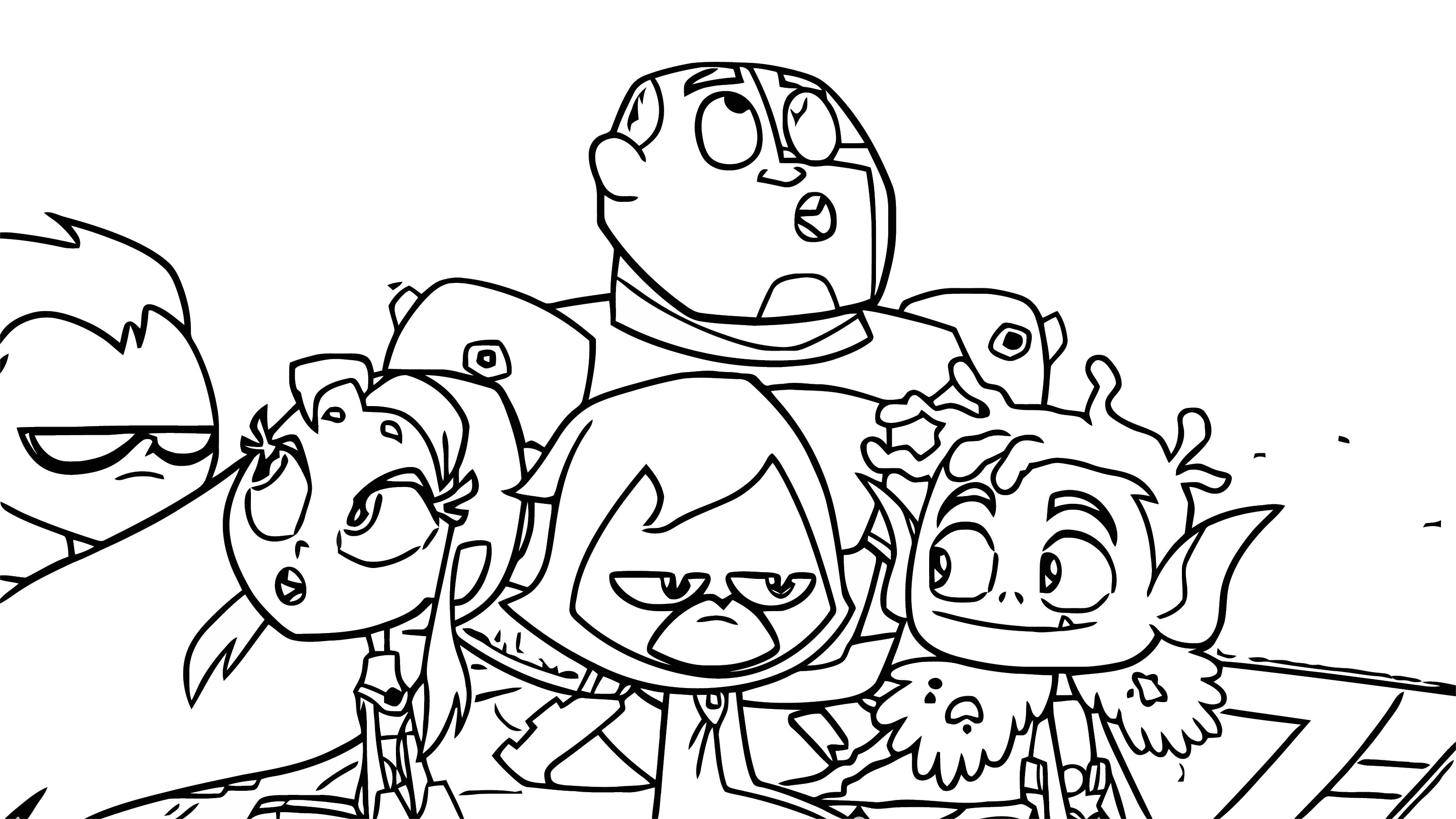 Beast Boy Shows The Titans His World Coloring Page
