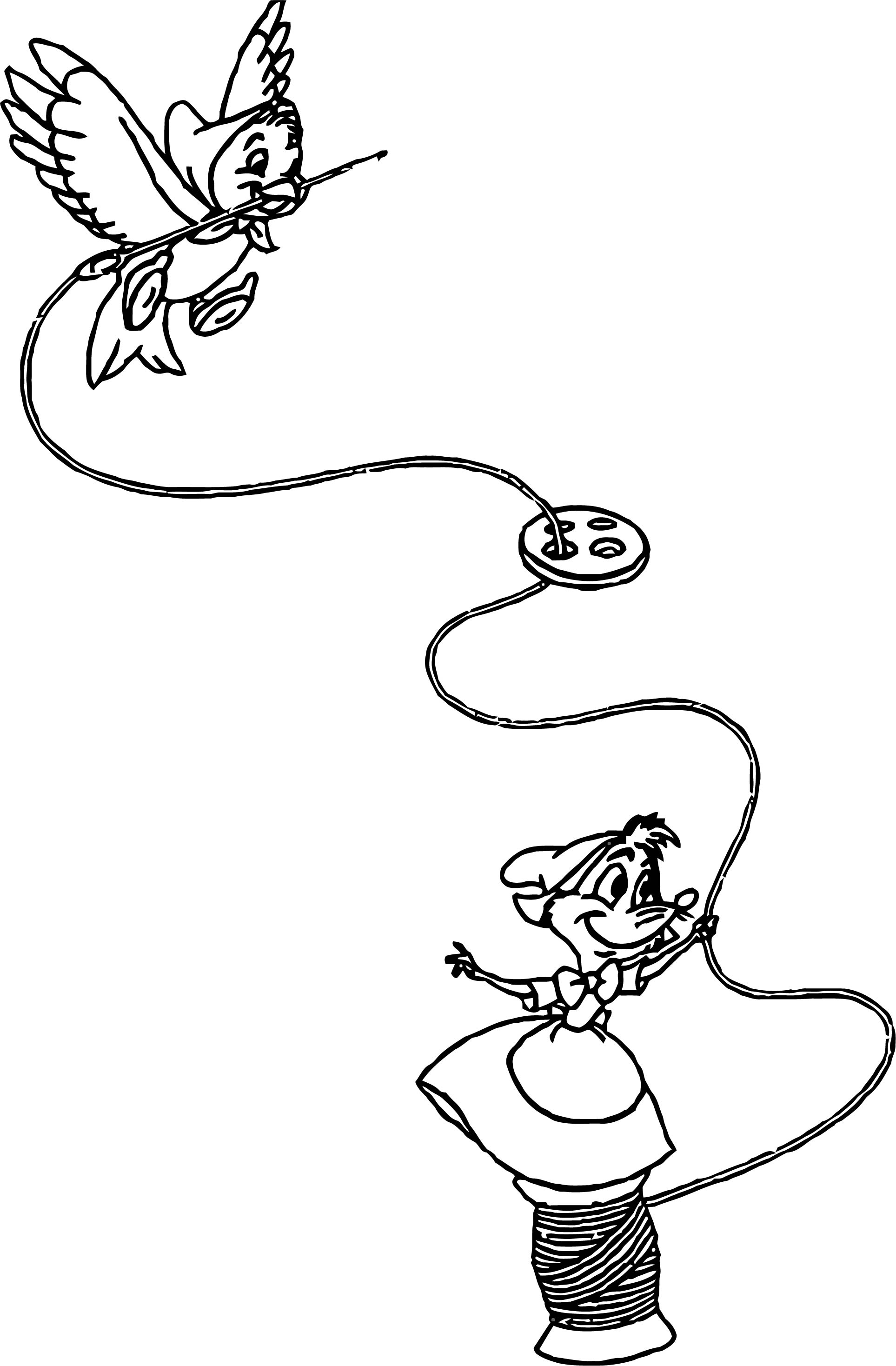 Bird And Mouse Embroidery Coloring Pages
