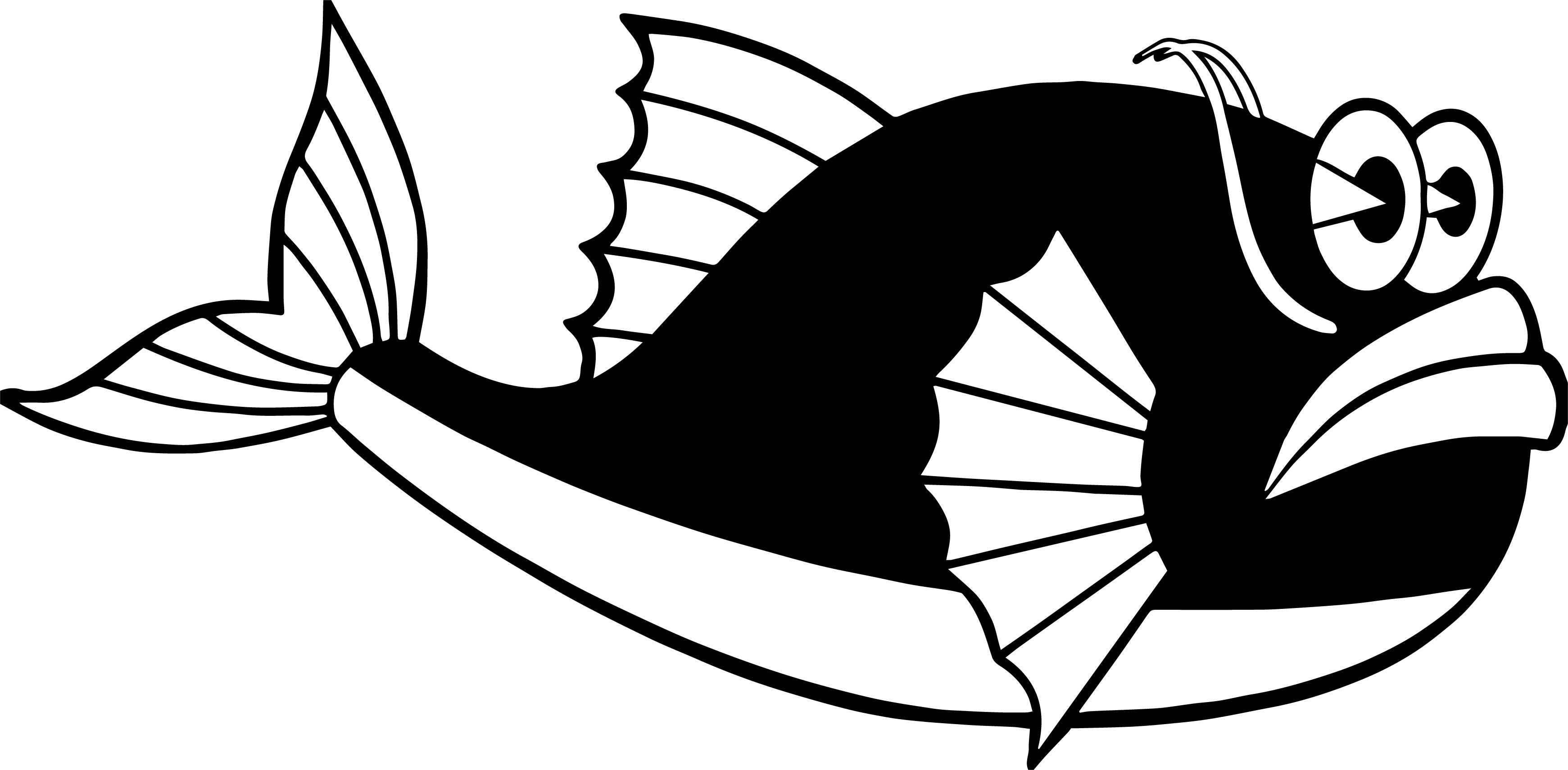 Black Japanese Fish Coloring Page