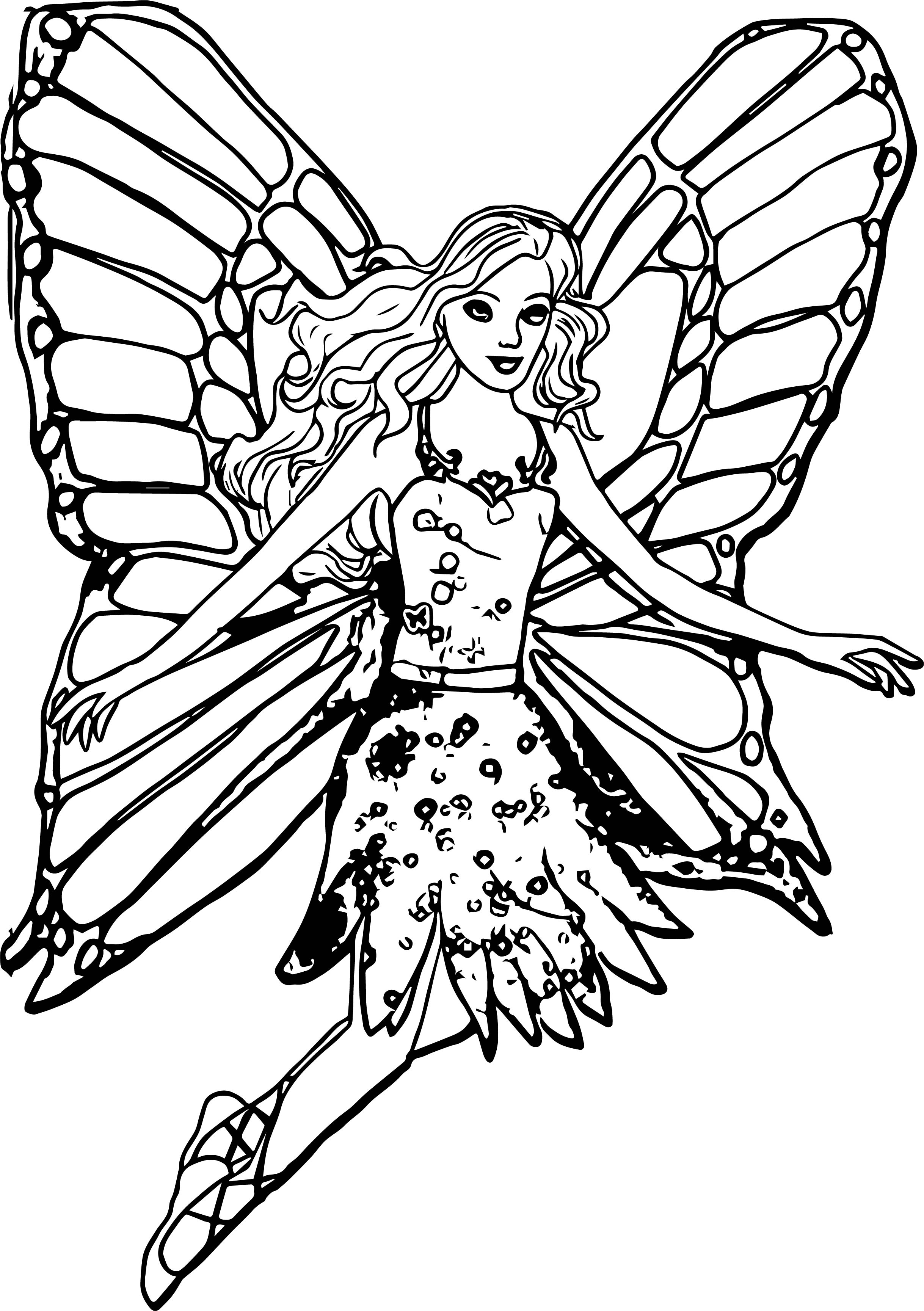 Butterfly Barbie Coloring Page