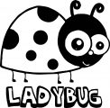 Cartoon Ladybug And Text Coloring Page