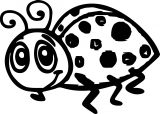 Cartoon Ladybug Bold Line Coloring Page