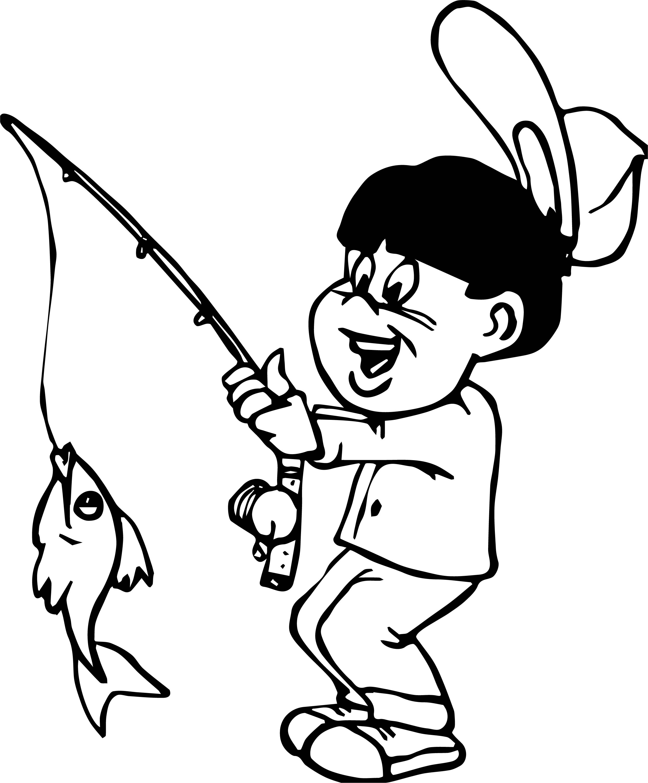 Catch Fish Boy Coloring Page