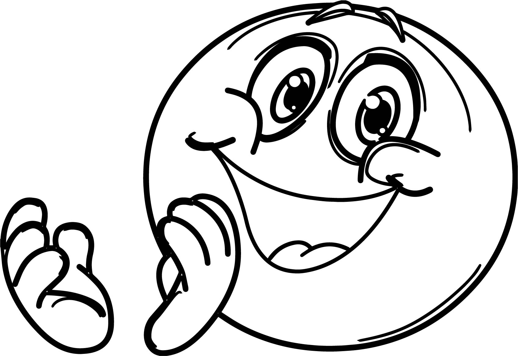 Clapping Outline Like Emoticon Free Download Computer Coloring Page