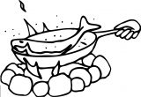 Cook Pan Fish Coloring Page