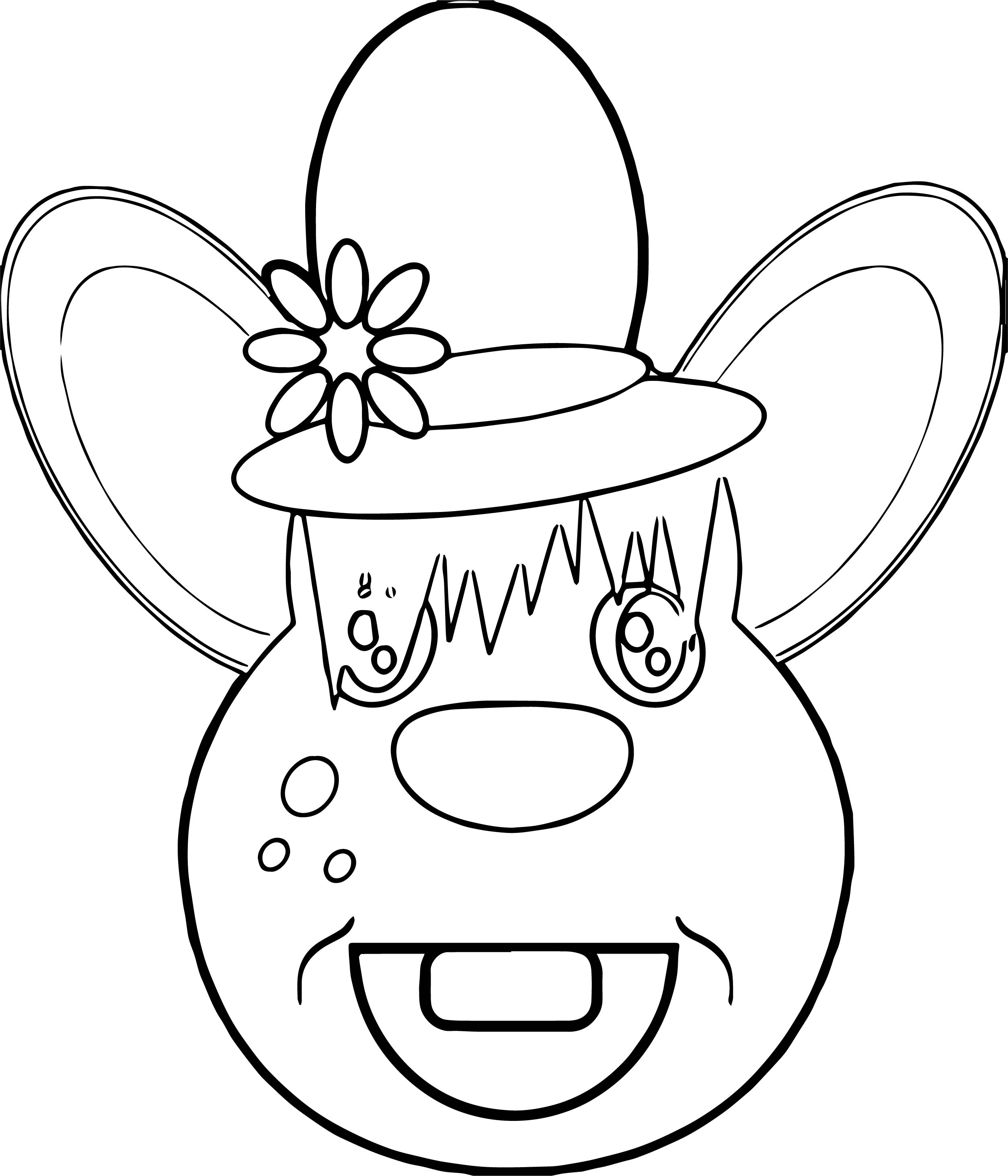 Country Mouse Face Coloring Page