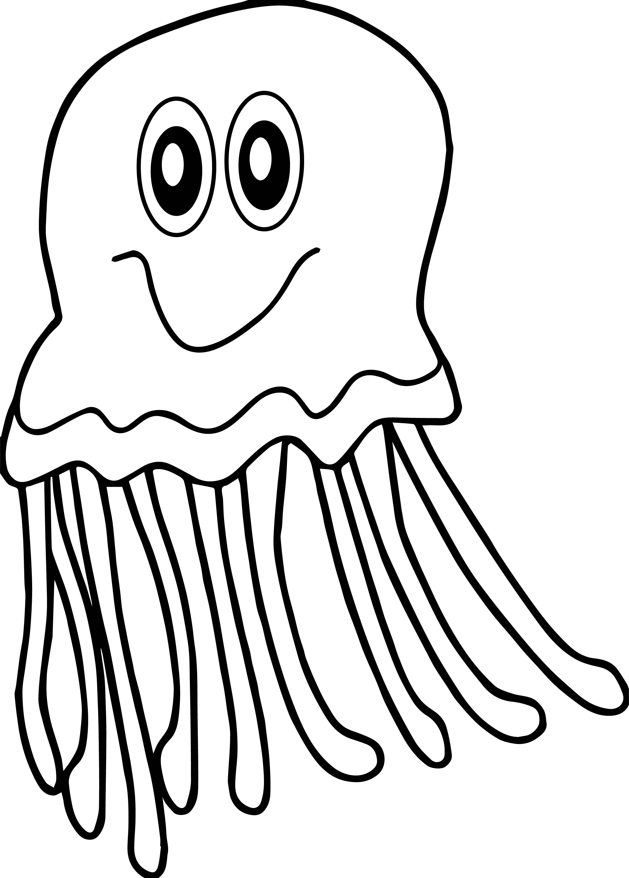 Cute Jellyfish Yellow Jellyfish Coloring Page