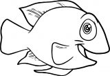 Cute Smile Fish Coloring Page