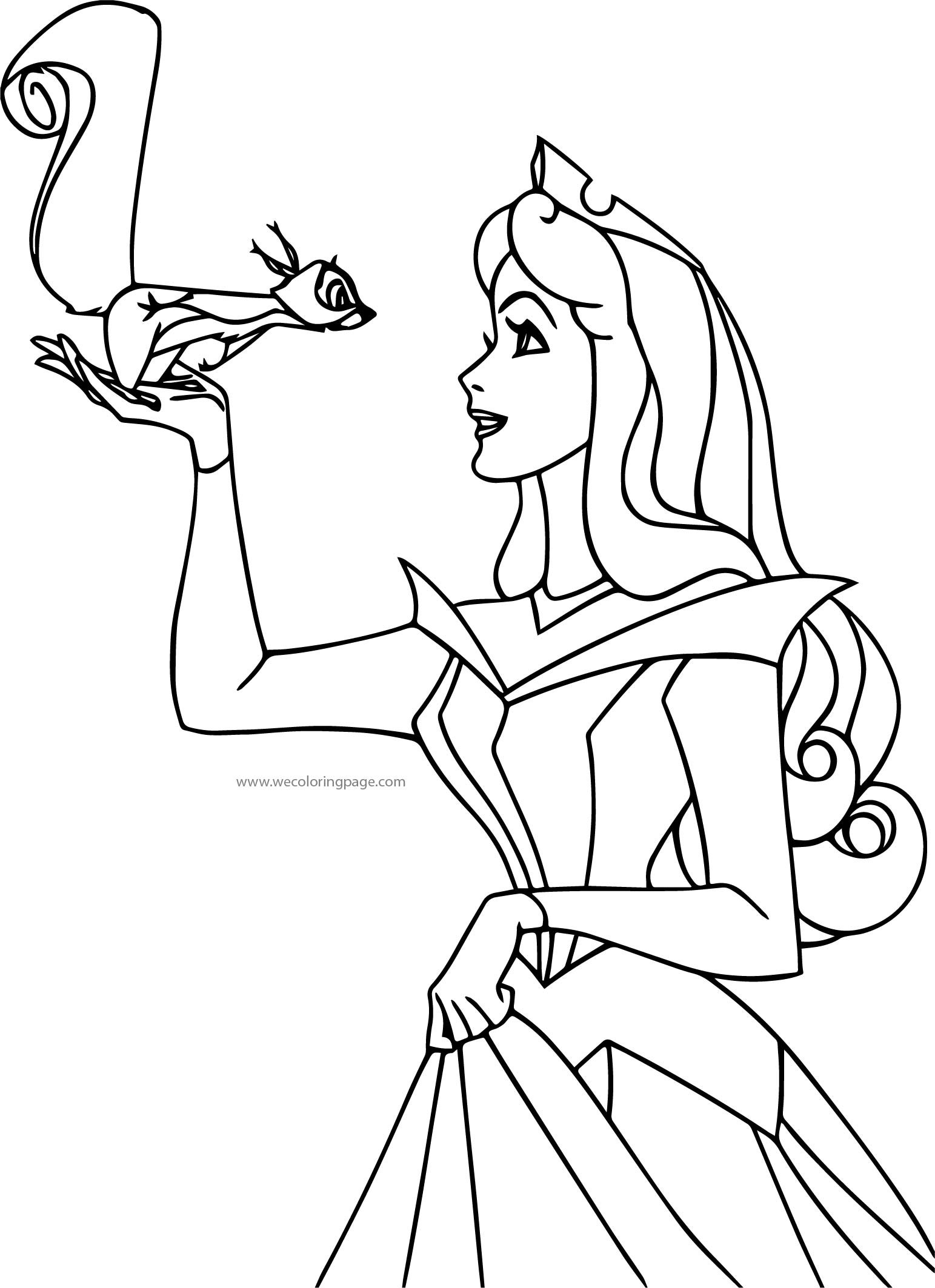 Disney Princess Sleeping Beauty At Disney Aurora Squirel Coloring Pages