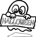 Ghost With Halloween Sign Coloring Page