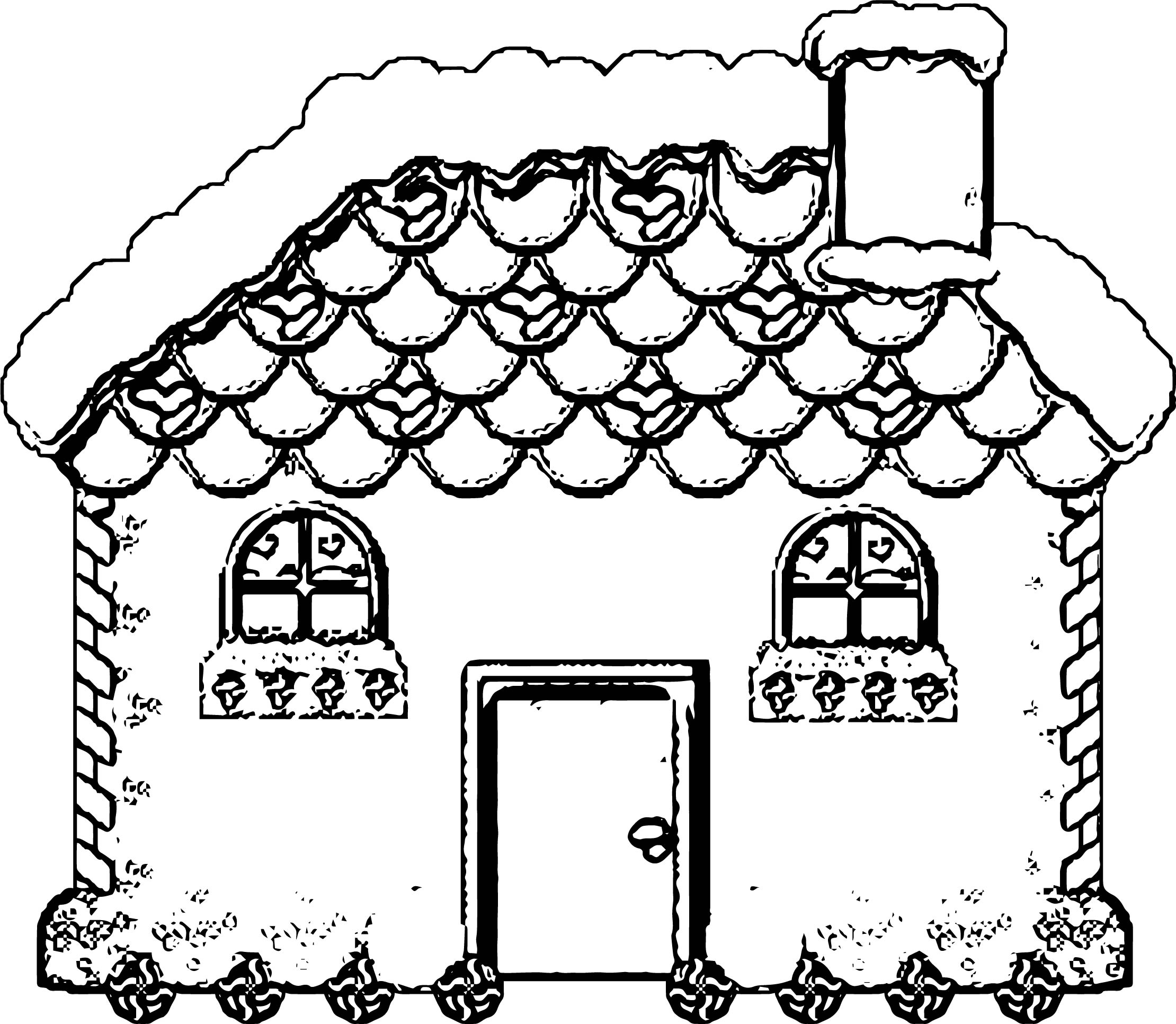 Gingerbreadhouse Gingerbread House Coloring Page
