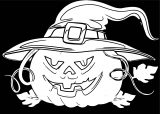 Halloween Black Background White Pumpkin Coloring Page