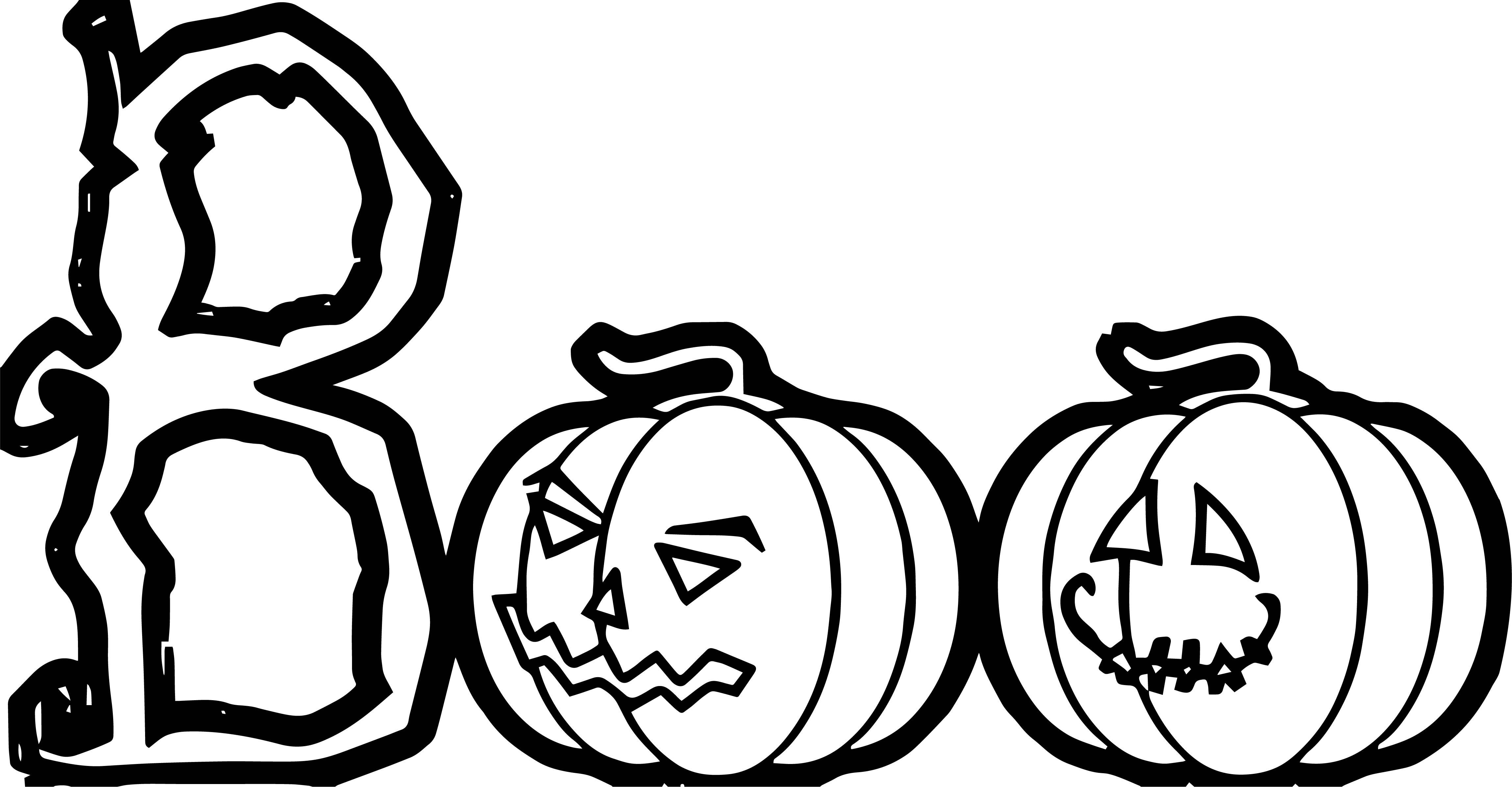 Halloween Boo Text Pumpkin Pumpkin Coloring Page ...