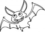 Halloween Cartoon Bat Coloring Page
