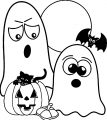 Halloween Cartoon Ghost Cat Coloring Page