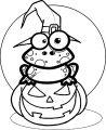 Halloween Cartoon Pumpkin Frog Coloring Page