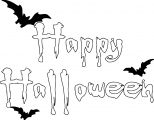 Halloween Happy Halloween Text Bat Coloring Page