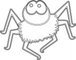 Halloween Outline Cute Cartoon Spider Coloring Page