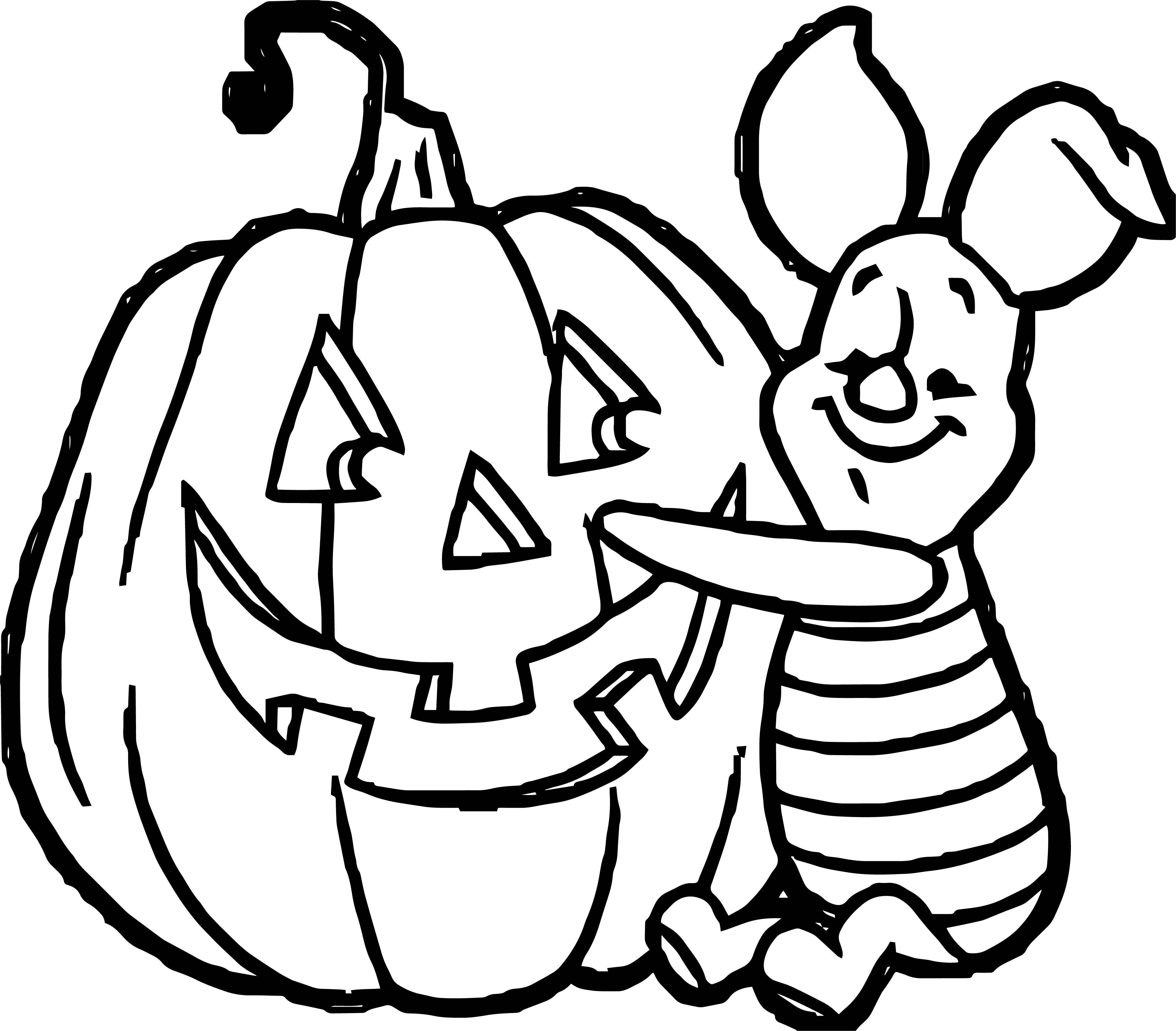Halloween Piglet Pumpkin Coloring Page