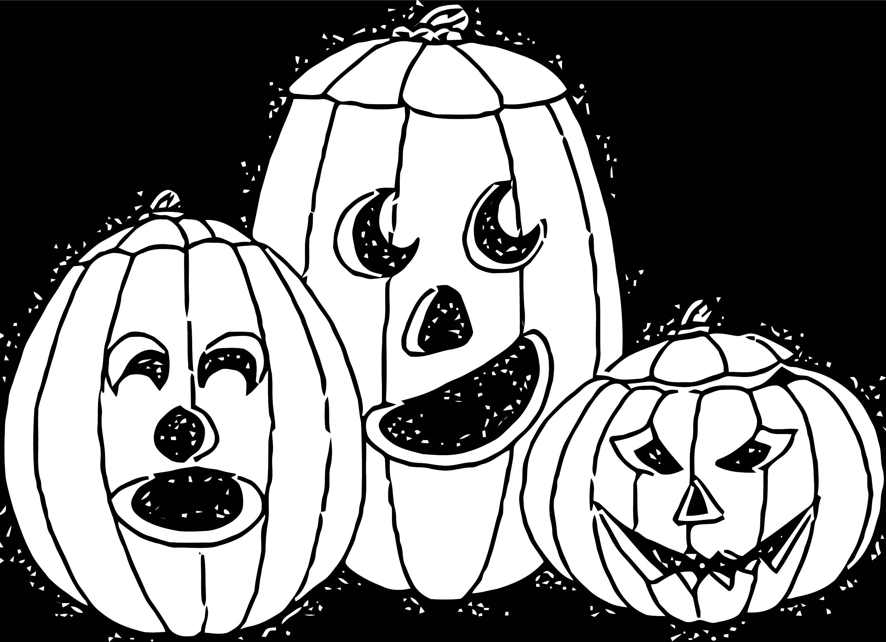 Halloween Pumpkin Black Background Coloring Page