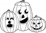 Halloween Three Pumpkins Coloring Page