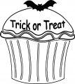 Halloween Trick Treat Cupcake Coloring Page