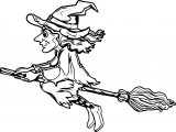 Halloween Witch Fly Coloring Page