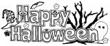 Happy Halloween Banners Text Coloring Page