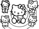 Hello Kitty Multi Cute Kitty Coloring Page