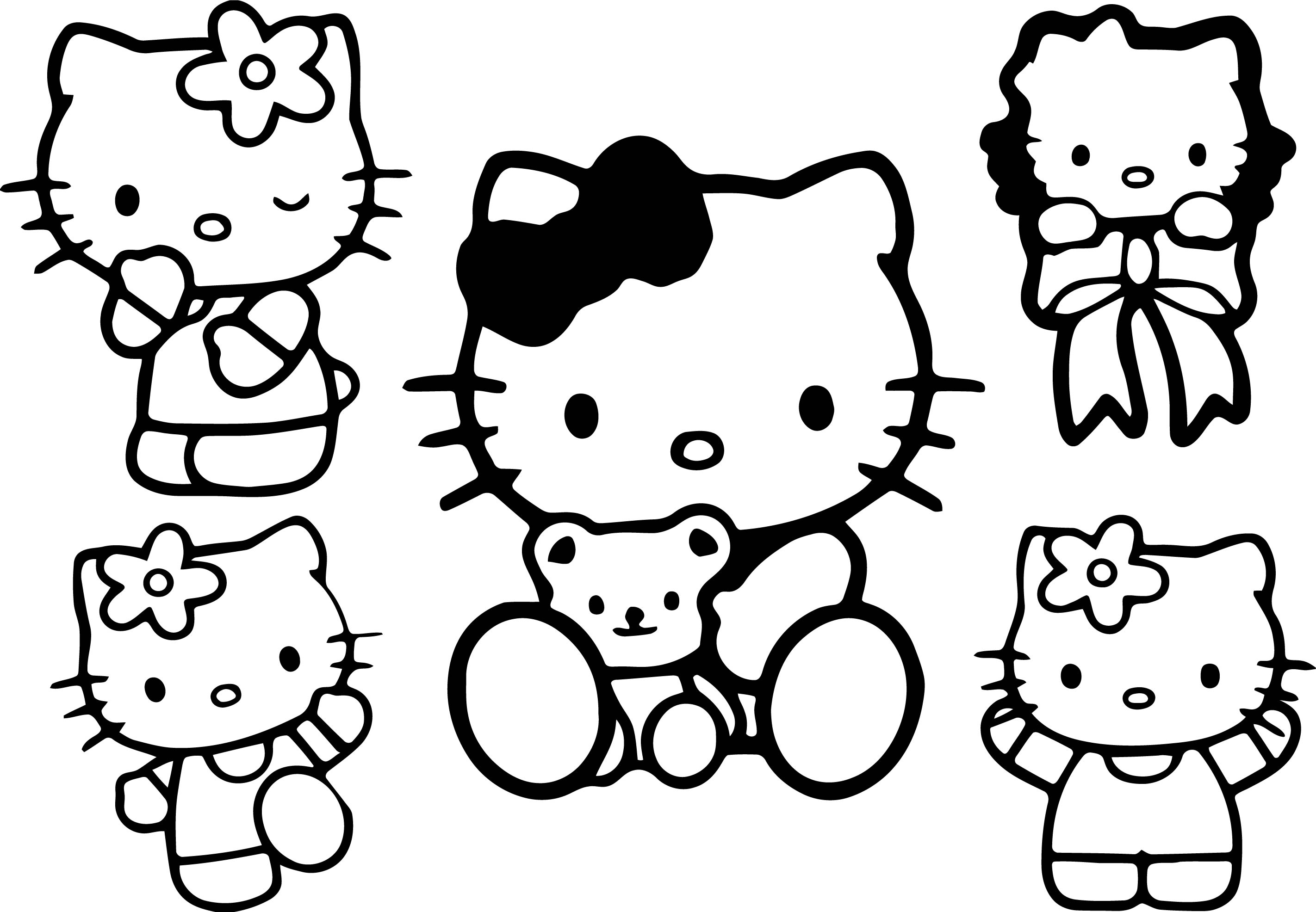 Hello Kitty Multiple Kitty Coloring Page