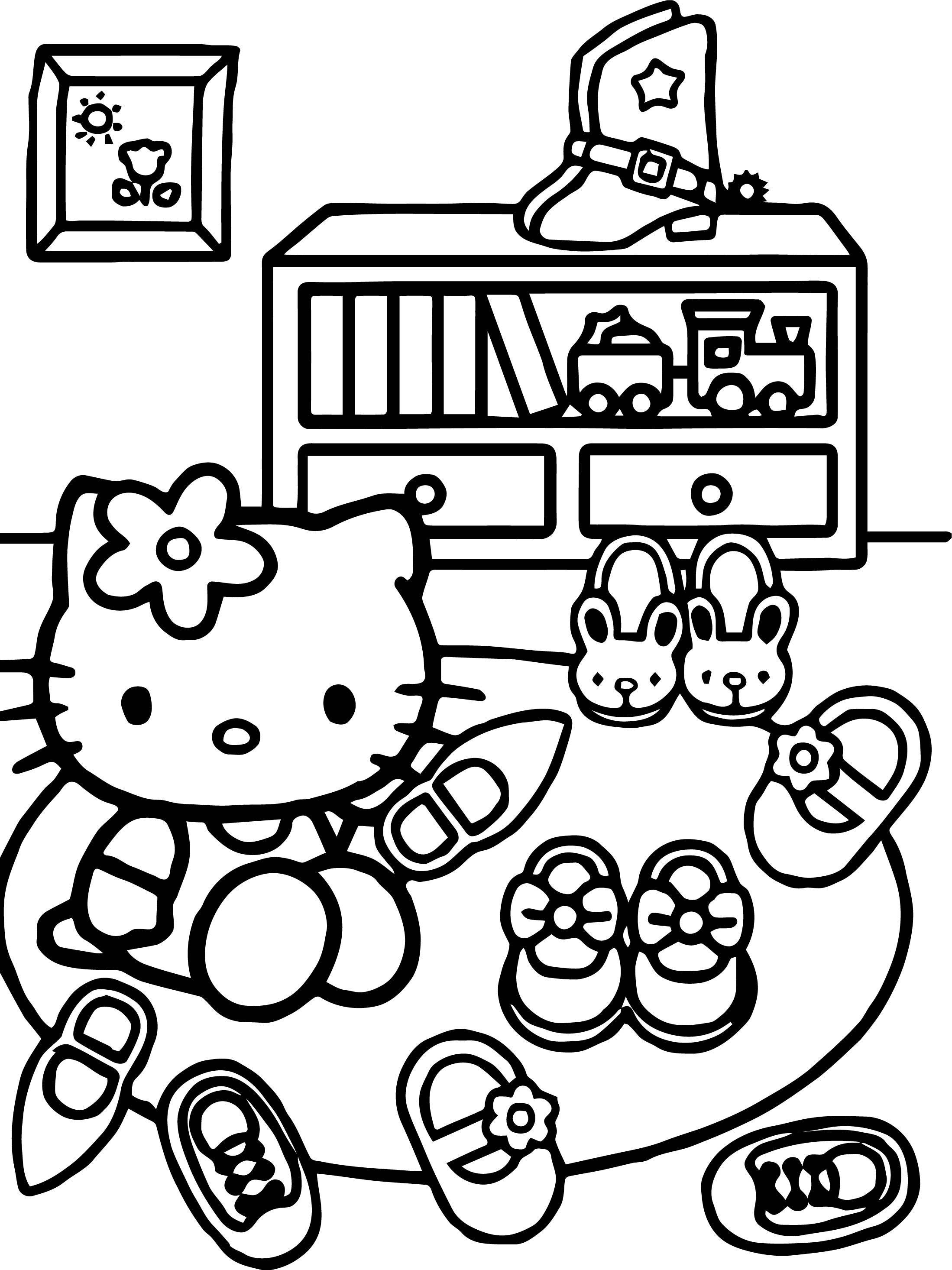 Hello Kitty See Shoes Coloring Page