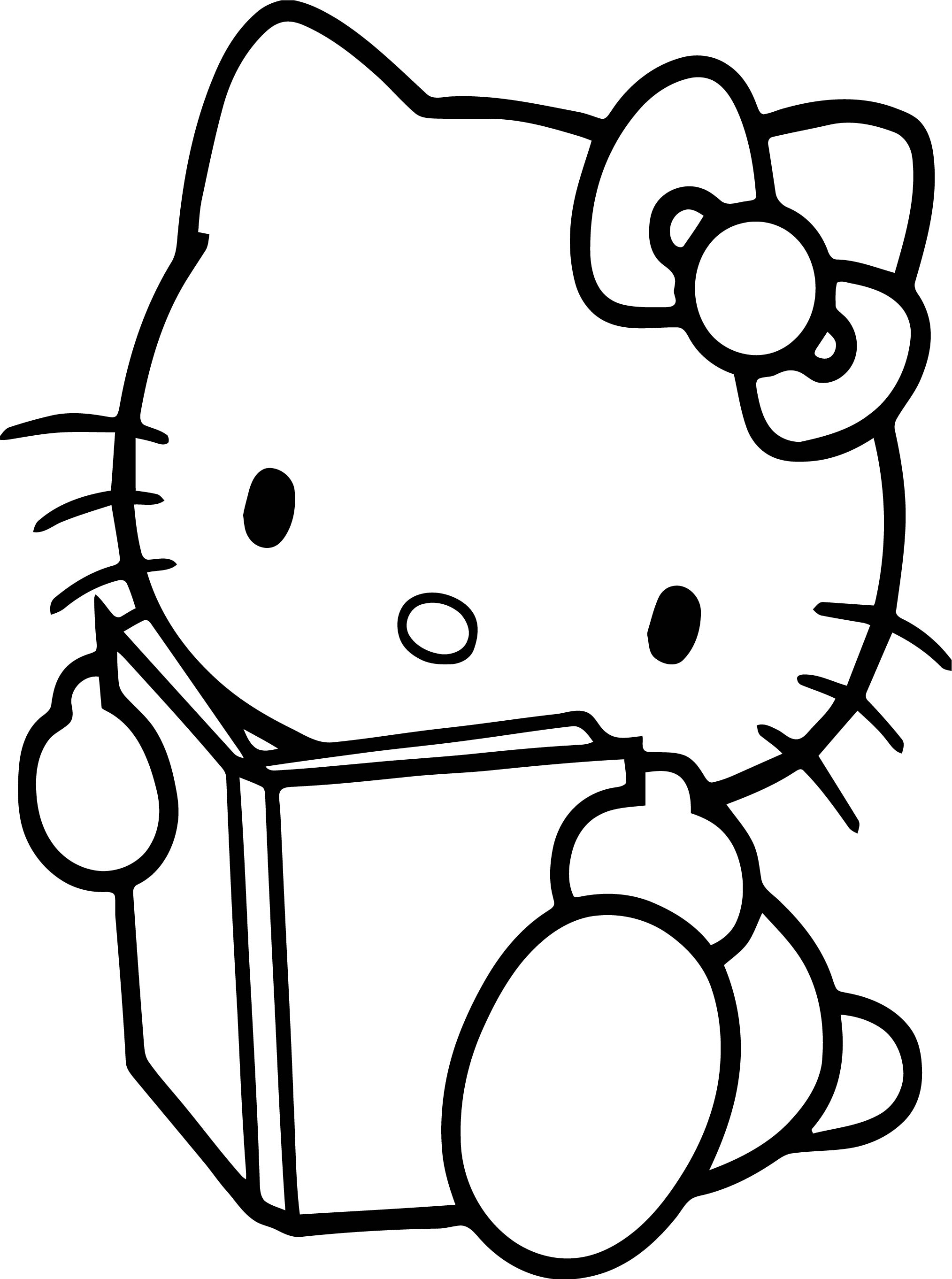 Hello Kitty Take A Photo Coloring Page