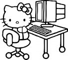 Hello Kitty Use Computer Coloring Page