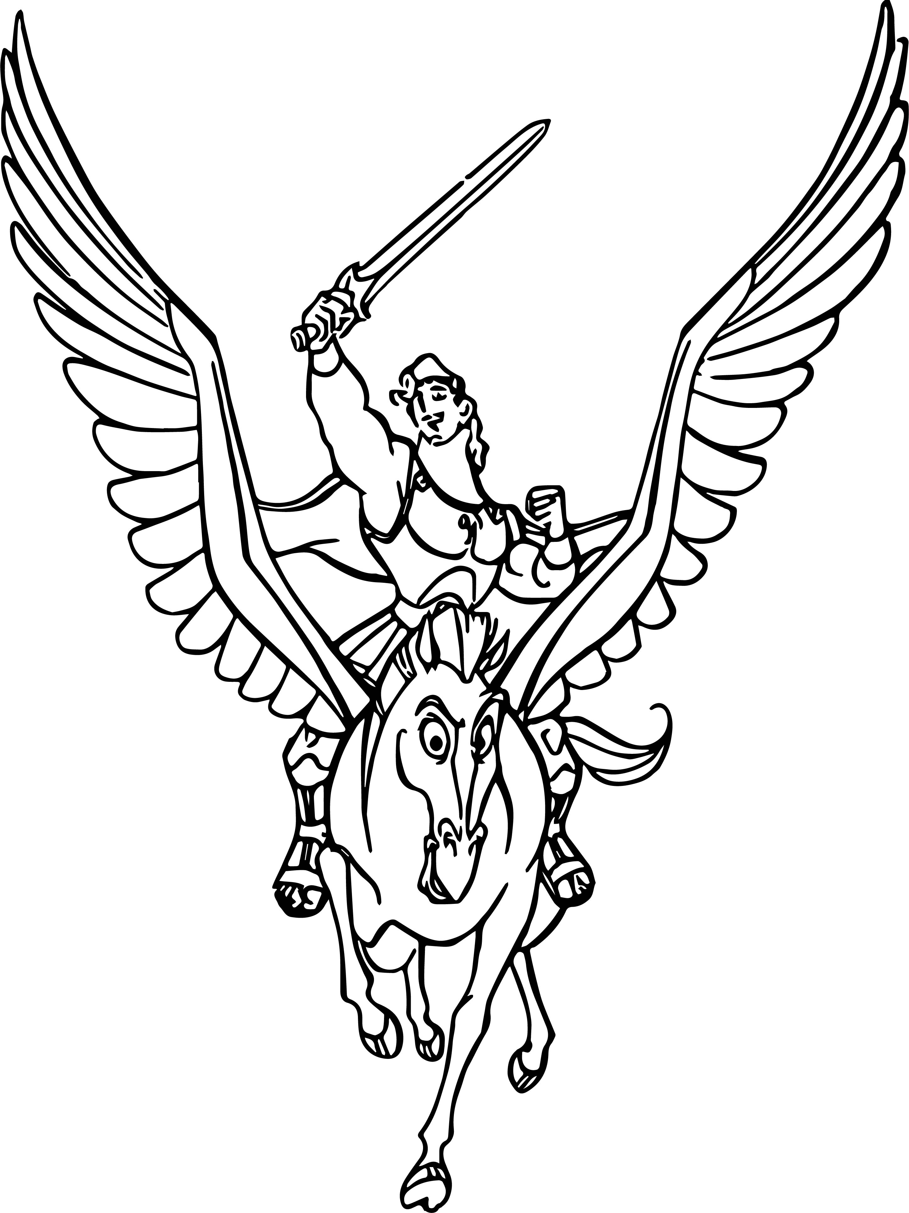 Hercules And Pegasus Coloring Pages 04
