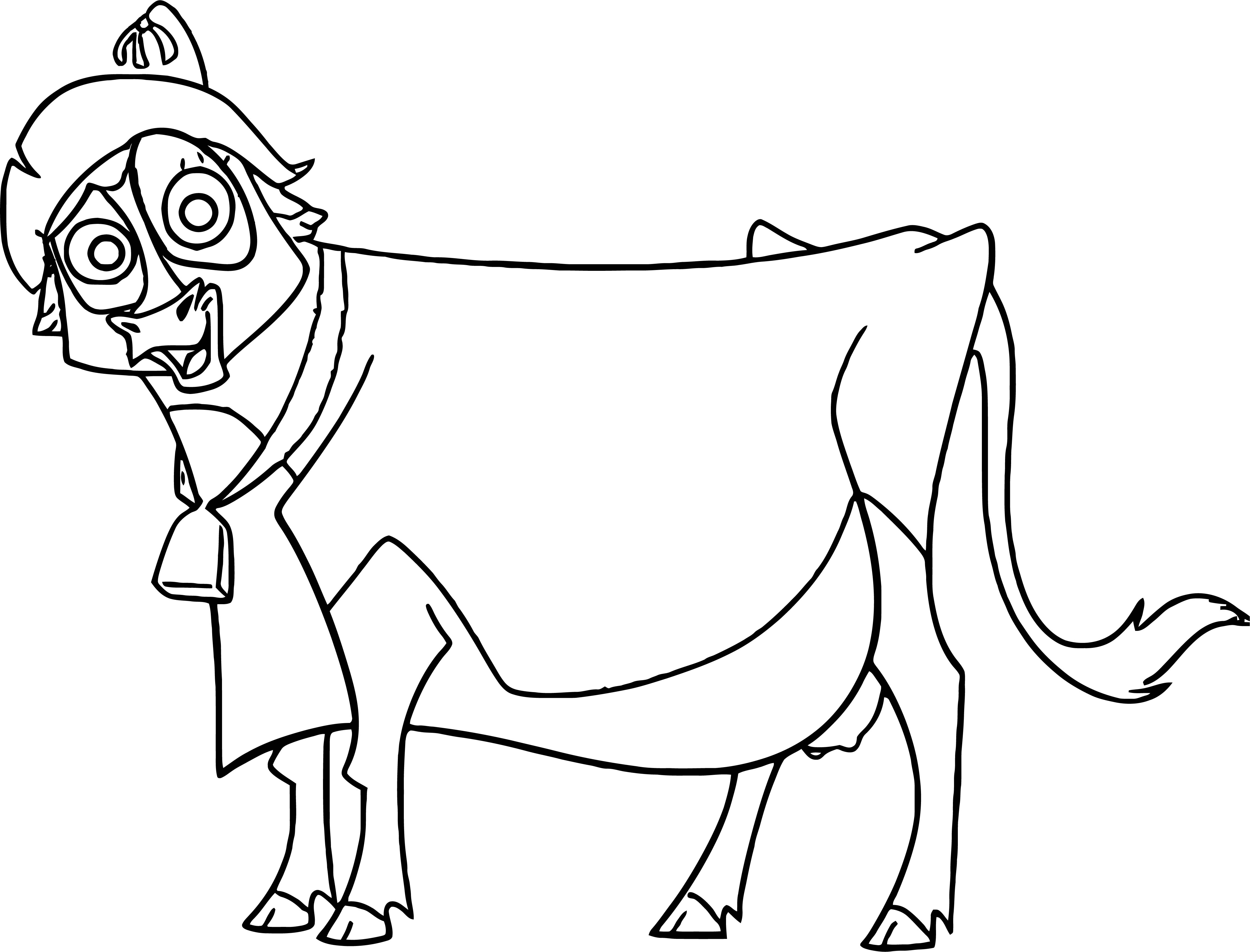 Home On The Range Cow Standing Smile Coloring Page
