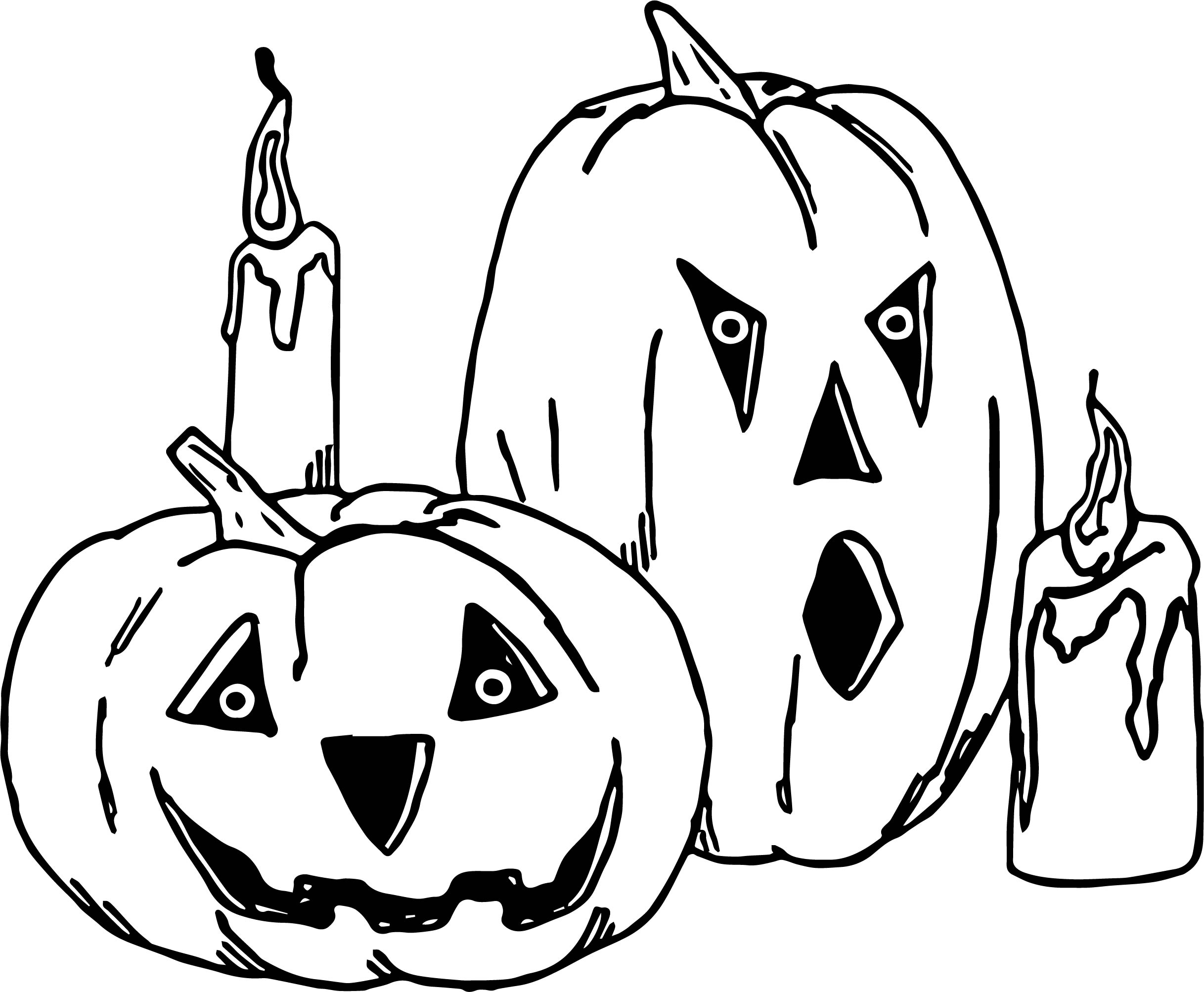Jack O Lanterns Candles Halloween Coloring Page