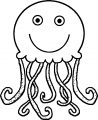 Jellyfish Cartoon Tail Cute Cartoon Coloring Page