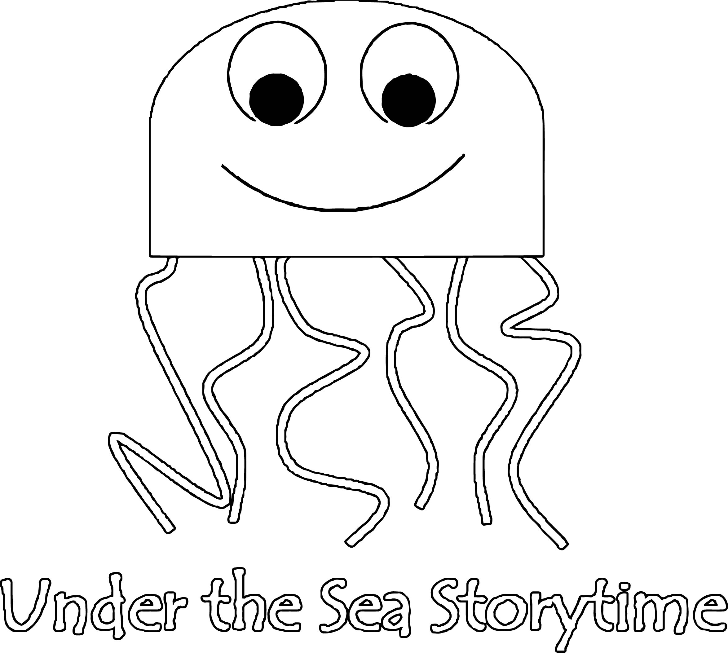 Jellyfish Under The Sea Storytime Coloring Page