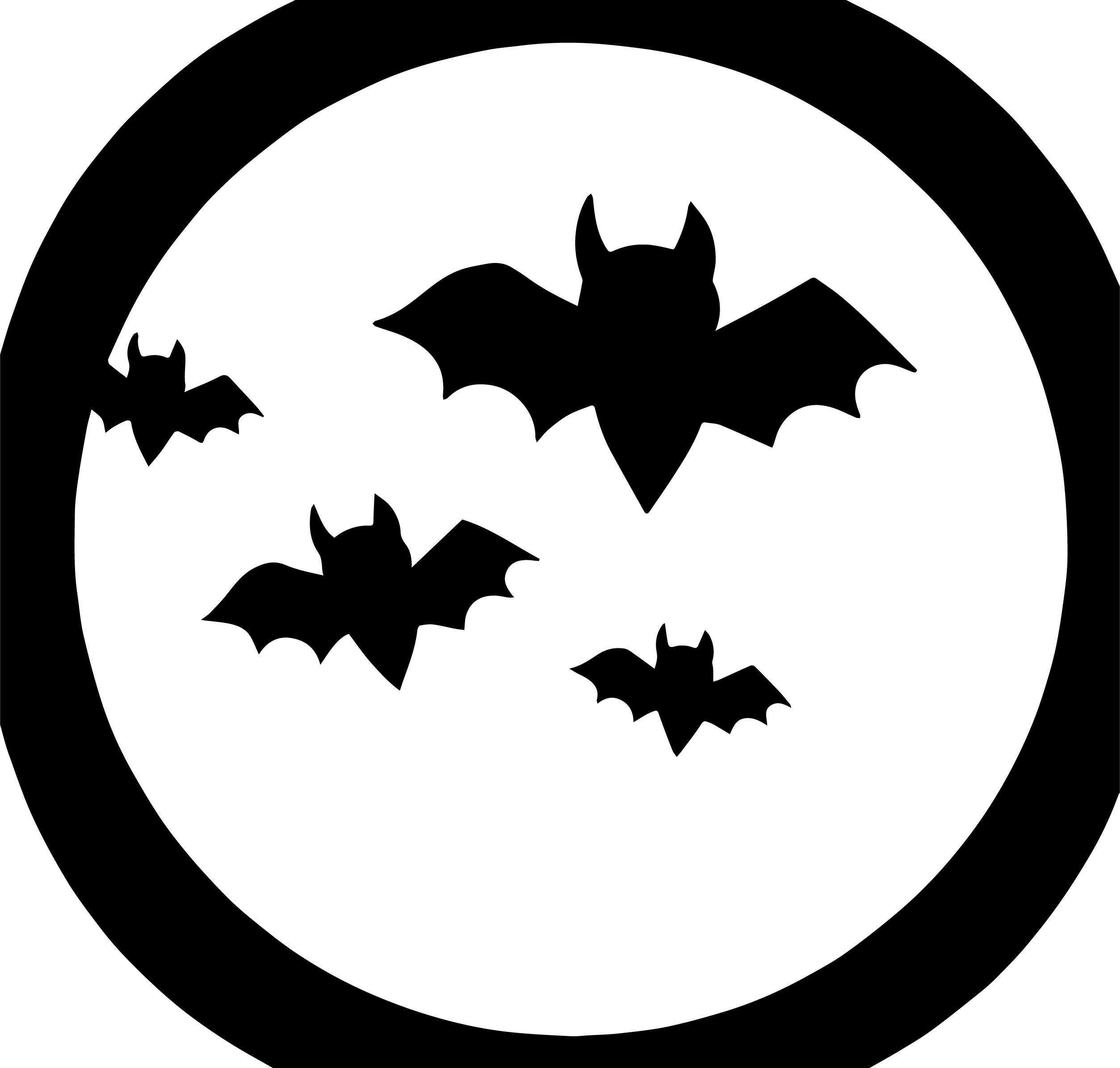 Large Transparent Moon With Bats Halloween Halloween Coloring Page