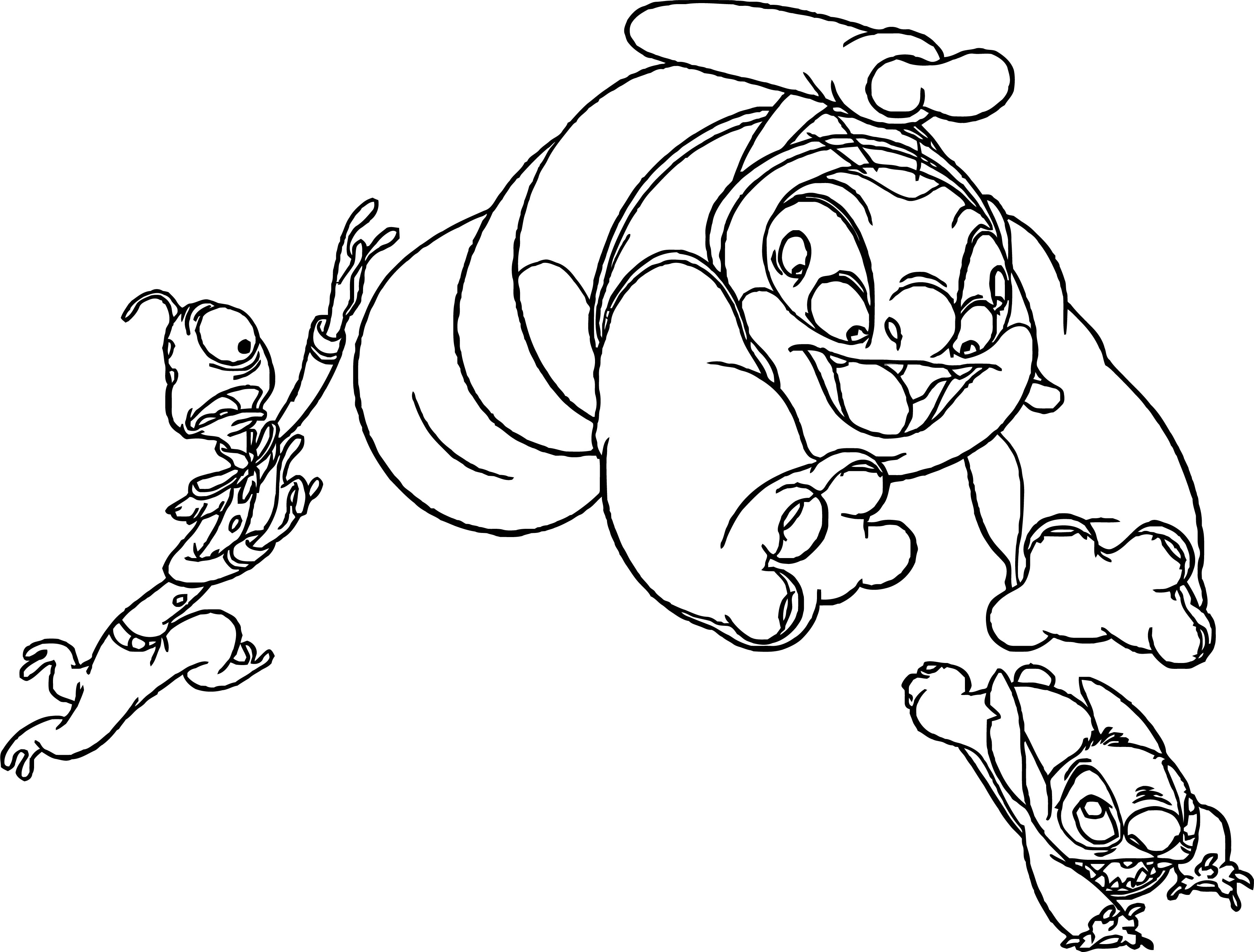Lilo And Stitch Catch Game Coloring Pages