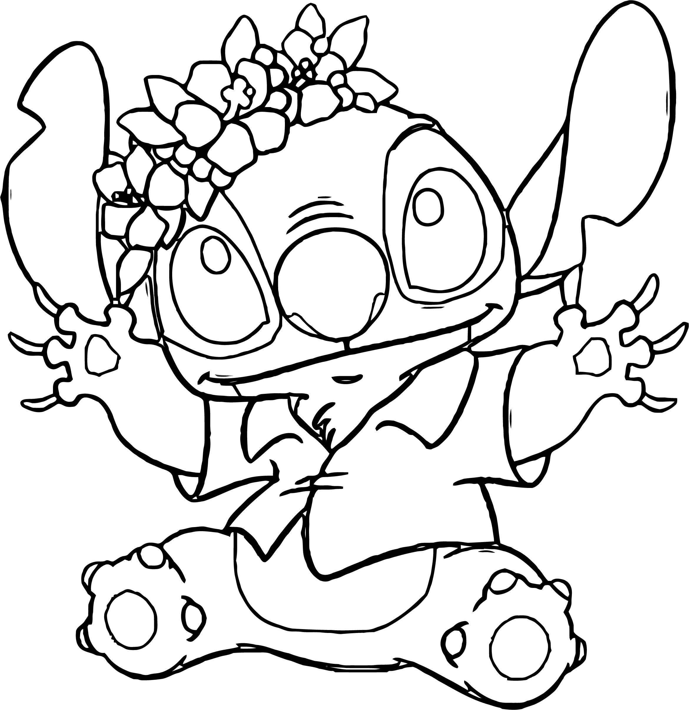 Lilo And Stitch Flower On Head Coloring Pages