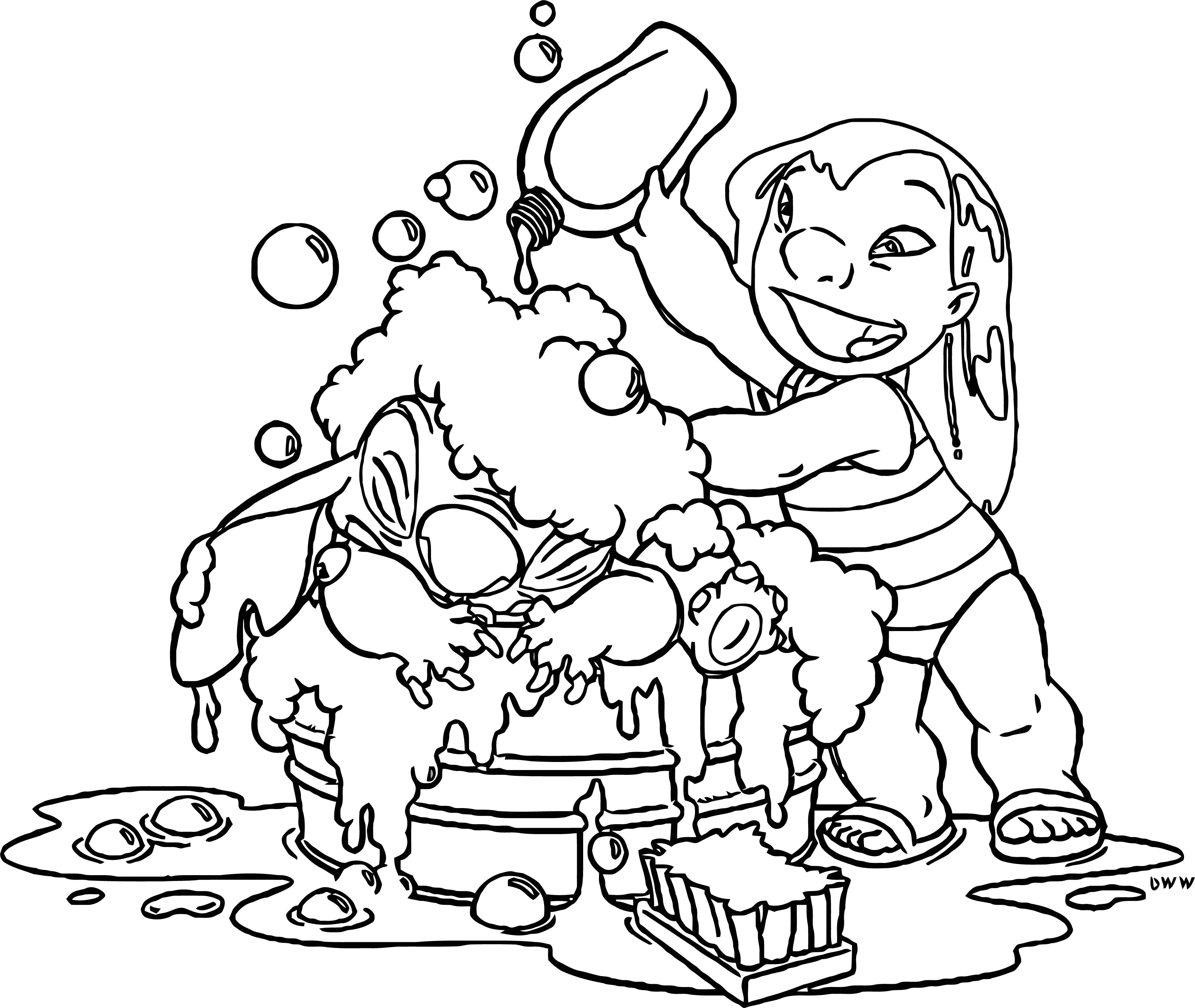 Lilo And Stitch Shower Time Coloring Pages