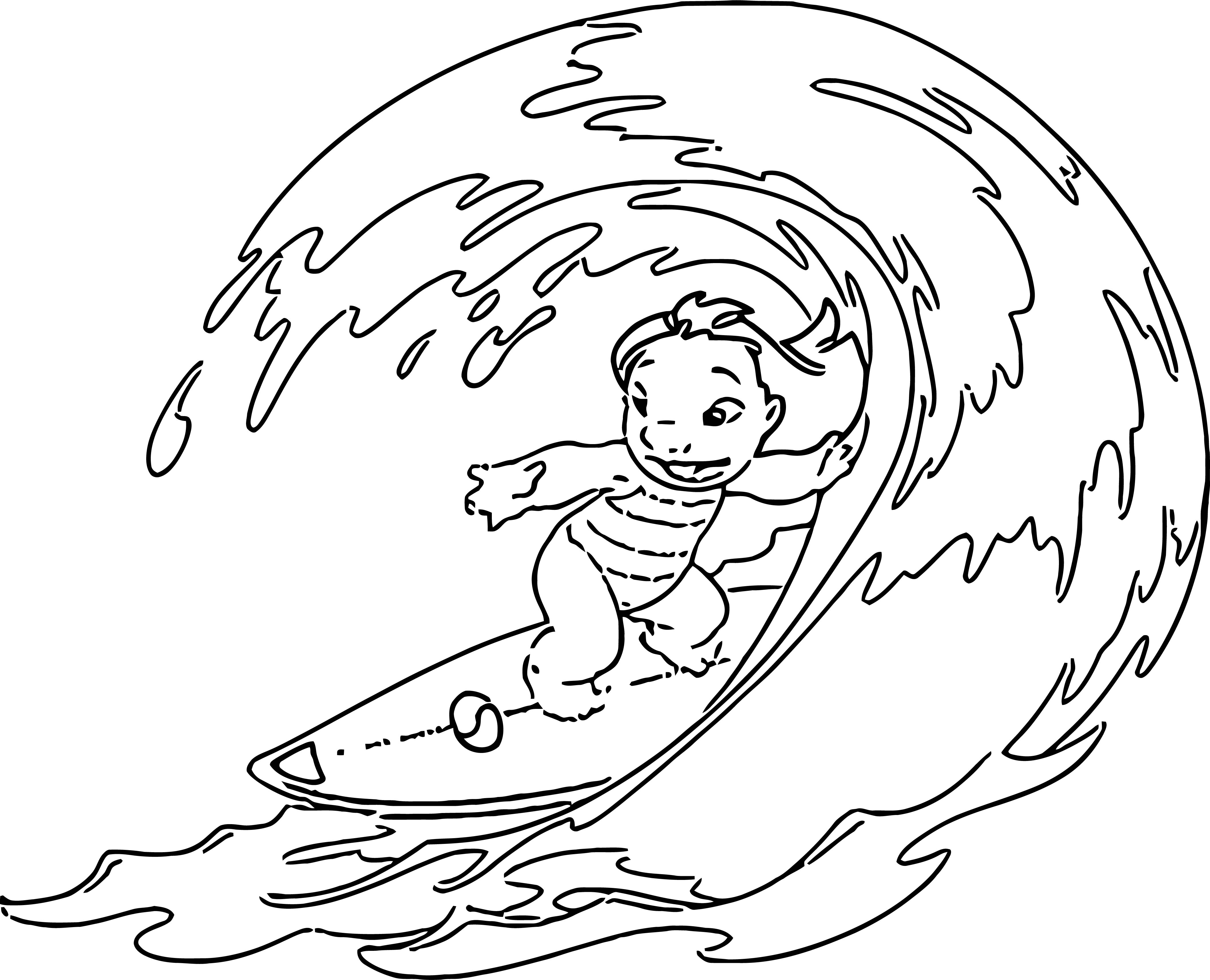 Lilo And Stitch Wave Coloring Pages