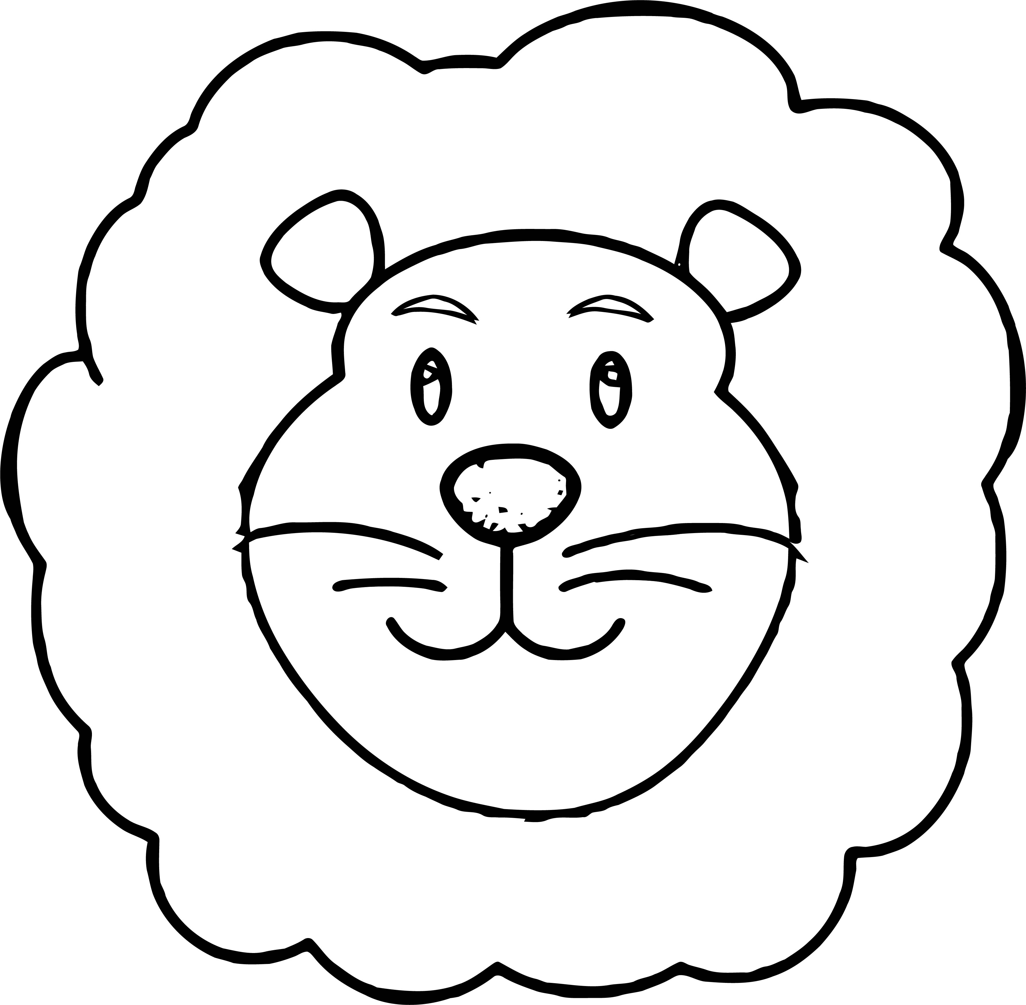 Lion Cute Smile Face Coloring Page